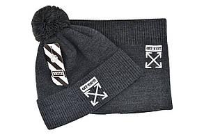 Комплект Flexfit шапка з помпоном и снуд Off-White Темно-серый (F-0918-118), фото 2