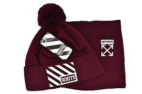 Комплект Flexfit шапка з помпоном и снуд Off-White Бордовый (F-0918-119), фото 2