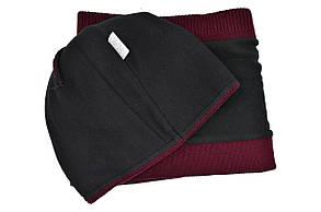 Комплект Flexfit шапка з помпоном и снуд Off-White Бордовый (F-0918-119), фото 3