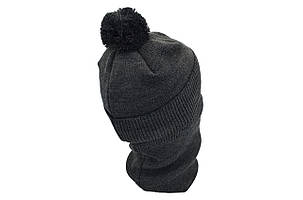 Комплект Flexfit шапка з помпоном и снуд Off-White Темно-серый (F-0918-120), фото 2