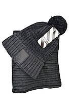 Комплект Flexfit шапка з помпоном и снуд Off-White Темно-серый (F-0918-121), фото 2
