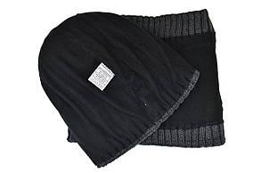 Комплект Flexfit шапка з помпоном и снуд Off-White Темно-серый (F-0918-121), фото 3