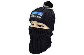 Комплект Flexfit шапка з помпоном и снуд Patagonia Чёрный (F-0918-122), фото 2