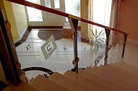 Стеклянные перила с декором