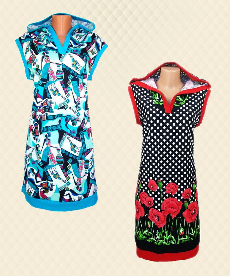 Туніка-плаття жіноча з капюшоном реактив