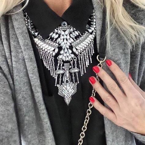 """Массивное колье """"Полнолуние"""" (цвет: серебристый) подвеска, ожерелье, фото 2"""