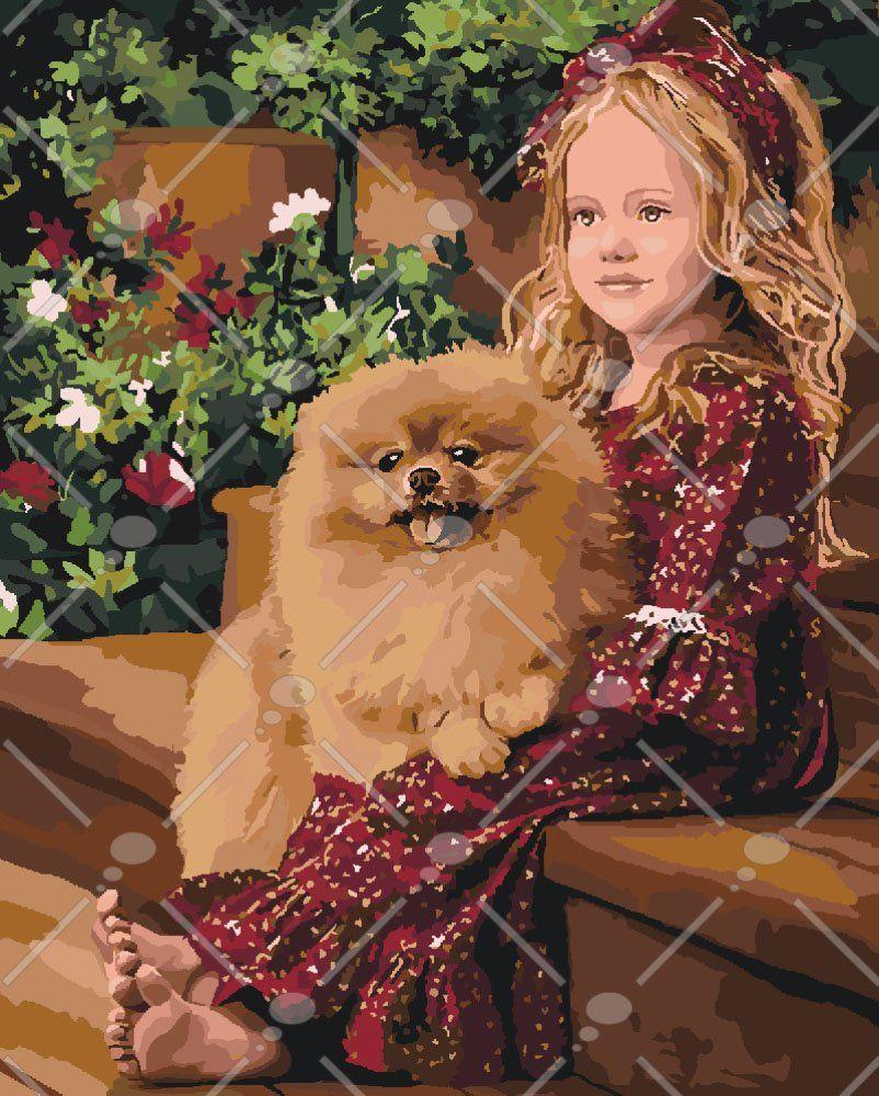 KH2329 Картина по номерам Девочка и шпиц, Без коробки