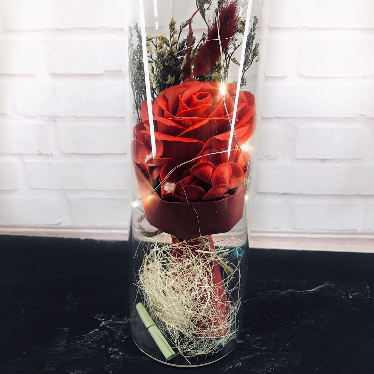 Роза в колбе с Led подсветкой - Красная