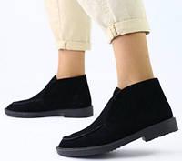 Loro Piana! Женские лоферы туфли полу ботинки натуральная черная замша Лора Пиана