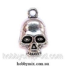 """Метал. подвеска """"череп"""" серебро (1,2х2 см) 12 шт в уп."""