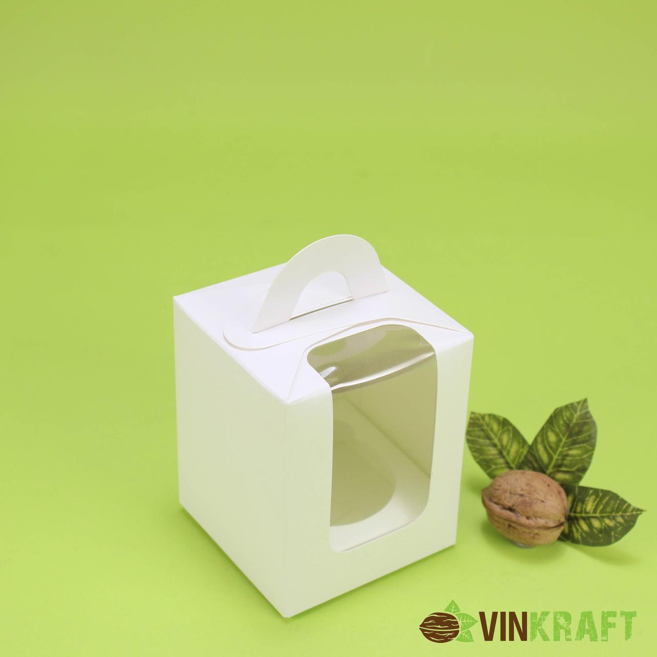 Коробка 82*82*100 для капкейків з вікном (1 шт), біла