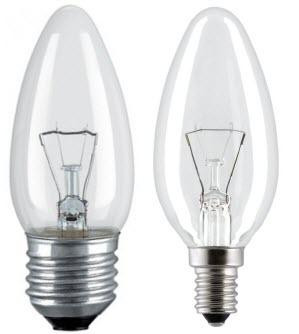 Лампы накаливания ЛОН тип B (свеча)