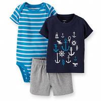 Комплект для мальчика Carter's 3-Piece Bodysuit & Short Set