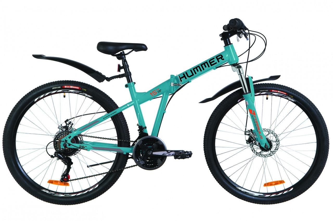 """Велосипед 26"""" Formula HUMMER AM 14G DD St с крылом Pl 2019 (синий с оранжевым (м))"""