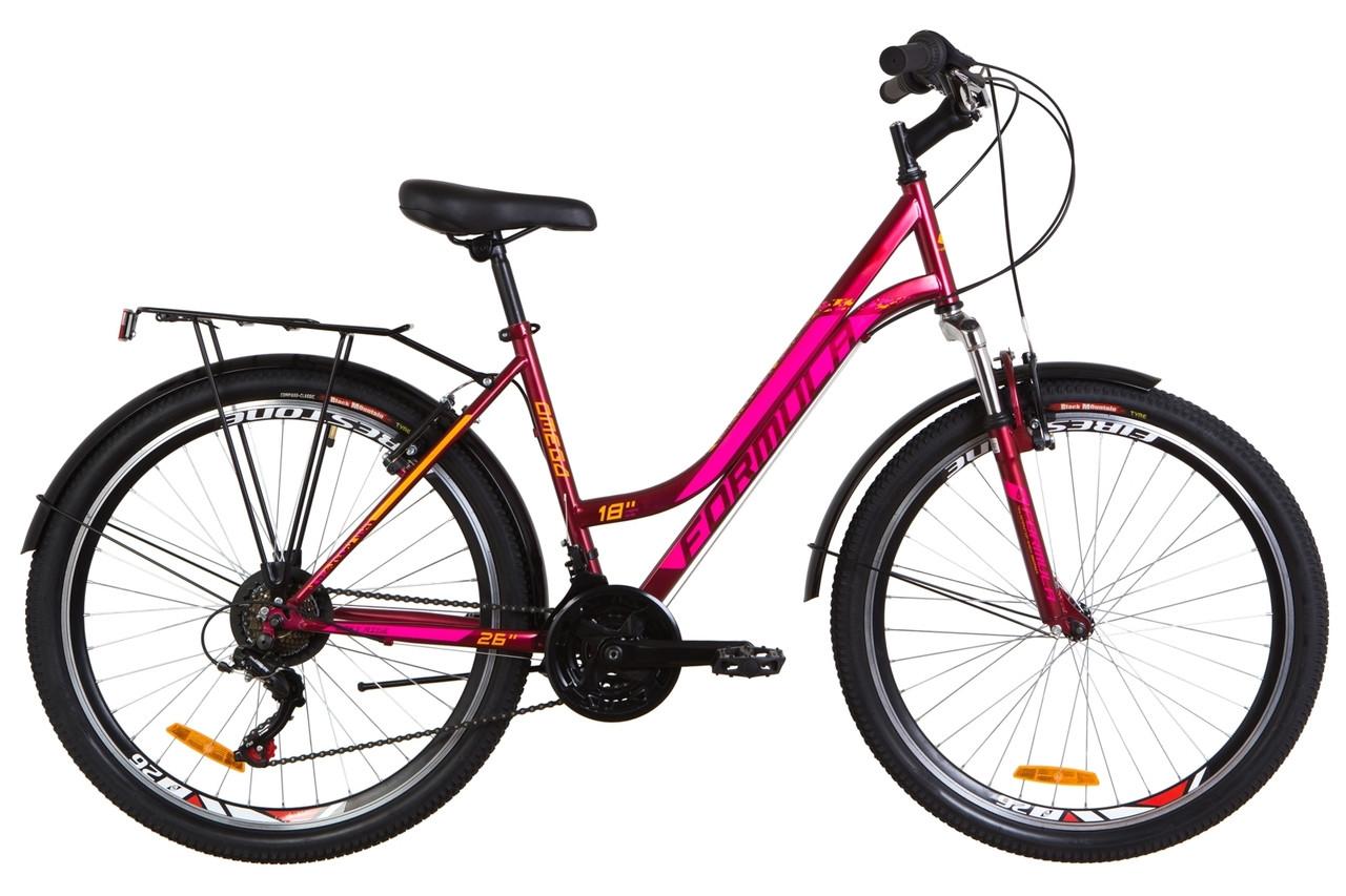 """Велосипед 26"""" Formula OMEGA AM 14G Vbr St з багажником зад St, з крилом St 2019 (малиновий (м))"""