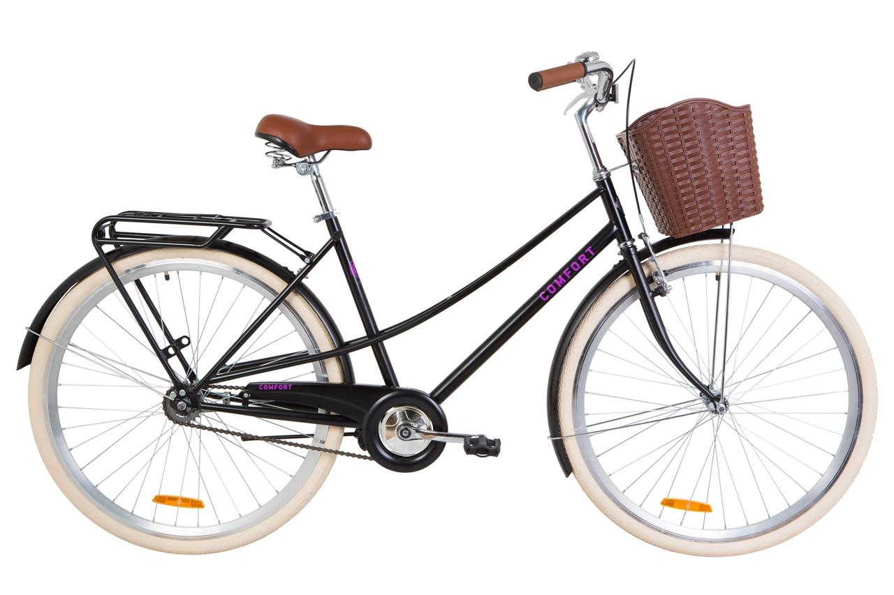 """Велосипед 28"""" Dorozhnik COMFORT FEMALE 14G St с багажником зад St, с крылом St, с корзиной Pl 2019 (черный (м))"""