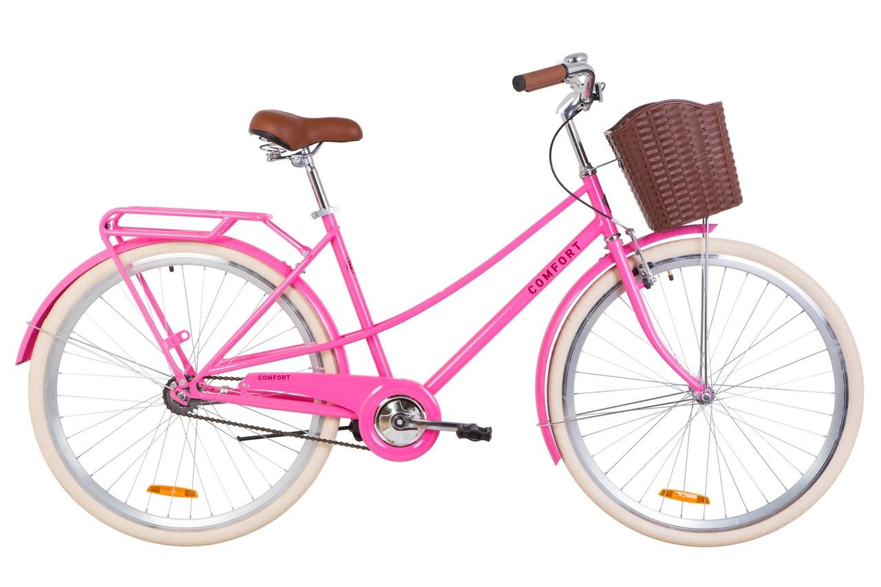 """Велосипед 28"""" Dorozhnik COMFORT FEMALE 14G St з багажником зад St, з крилом St, з кошиком Pl 2019 (персиковий)"""