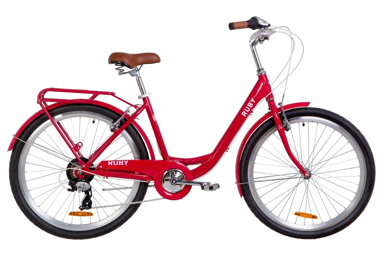 """Велосипед 26"""" Dorozhnik RUBY 14G Vbr Al з багажником зад St, з крилом St 2019 (червоний)"""