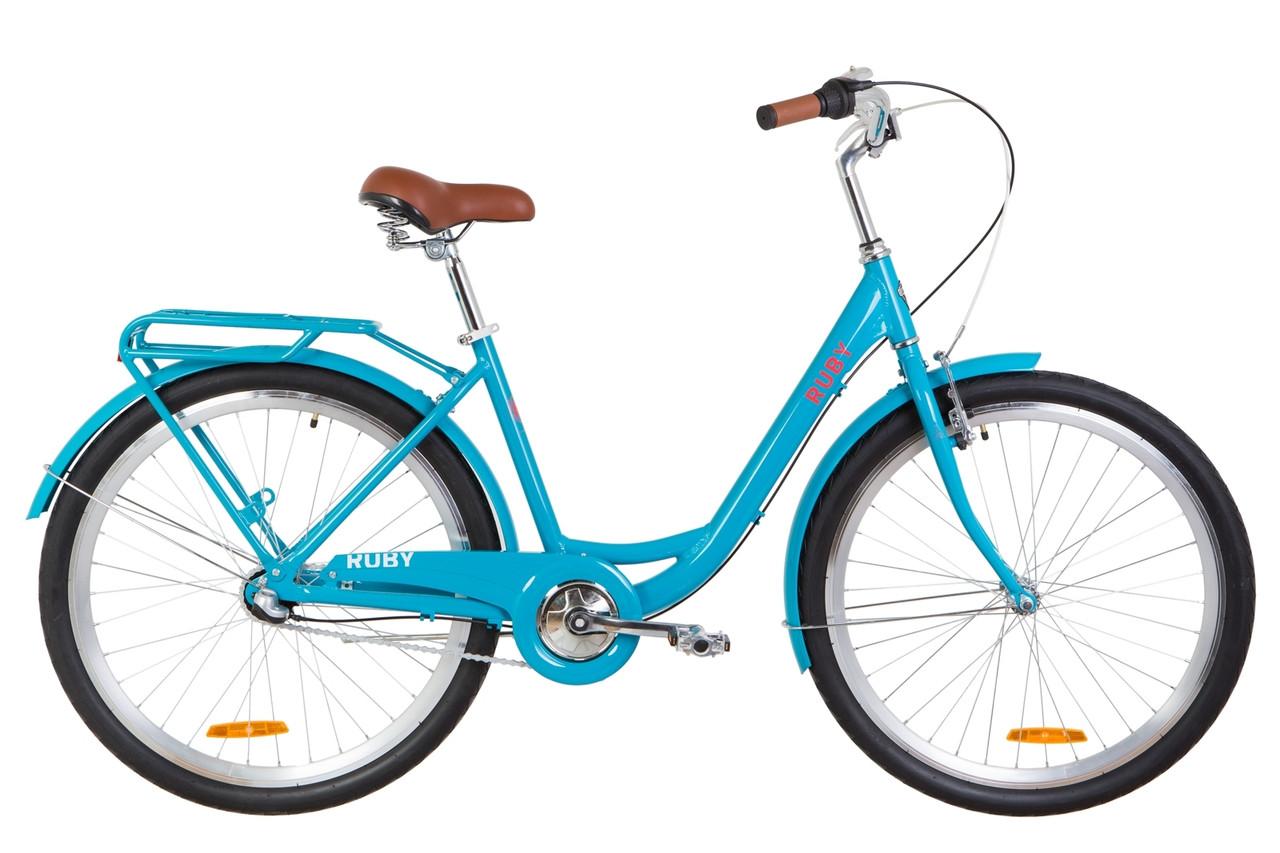 """Велосипед 26"""" Dorozhnik RUBY 14G планет. St з багажником зад St, з крилом St 2019 (лазурний)"""