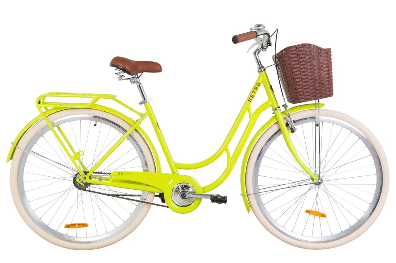 """Велосипед 28"""" Dorozhnik RETRO 14G St з багажником зад St, з крилом St, з кошиком Pl 2019 (салатний )"""