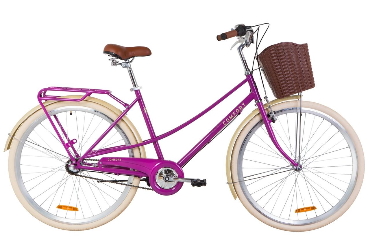 """Велосипед 28"""" Dorozhnik COMFORT FEMALE 14G планет. St з багажником зад St, з крилом St, з кошиком Pl 2019 (фіолетовий)"""