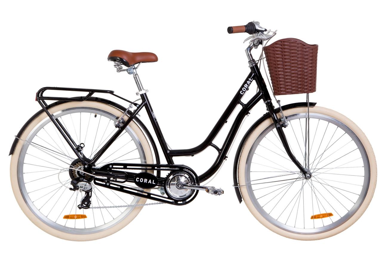 """Велосипед 28"""" Dorozhnik CORAL 14G Vbr Al с багажником зад St, с крылом St, с корзиной Pl 2019 (черный)"""