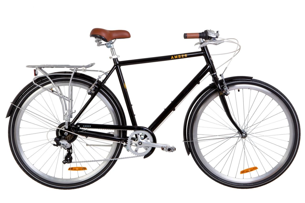 """Велосипед 28"""" Dorozhnik AMBER 14G Vbr Al з багажником зад AI, з крилом St 2019 (чорно-жовтий)"""