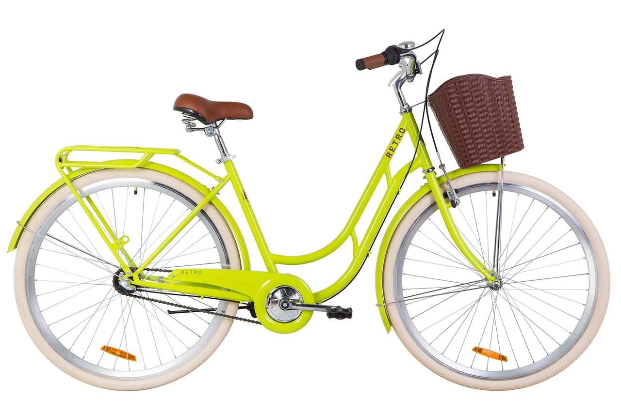 """Велосипед 28"""" Dorozhnik RETRO 14G планет. St з багажником зад St, з крилом St, з кошиком Pl 2019 (салатний )"""