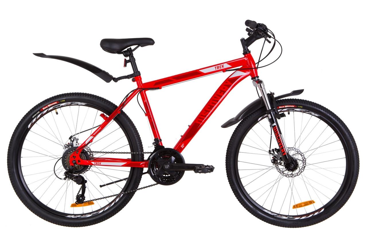"""Велосипед 26"""" Discovery TREK AM 14G DD St з крилом Pl 2019 (червоний акцент з синім)"""