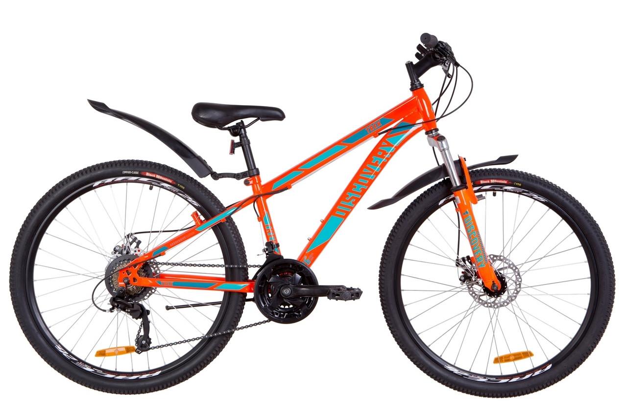 """Велосипед 26"""" Discovery TREK AM 14G DD St з крилом Pl 2019 (оранжево-бірюзовий)"""