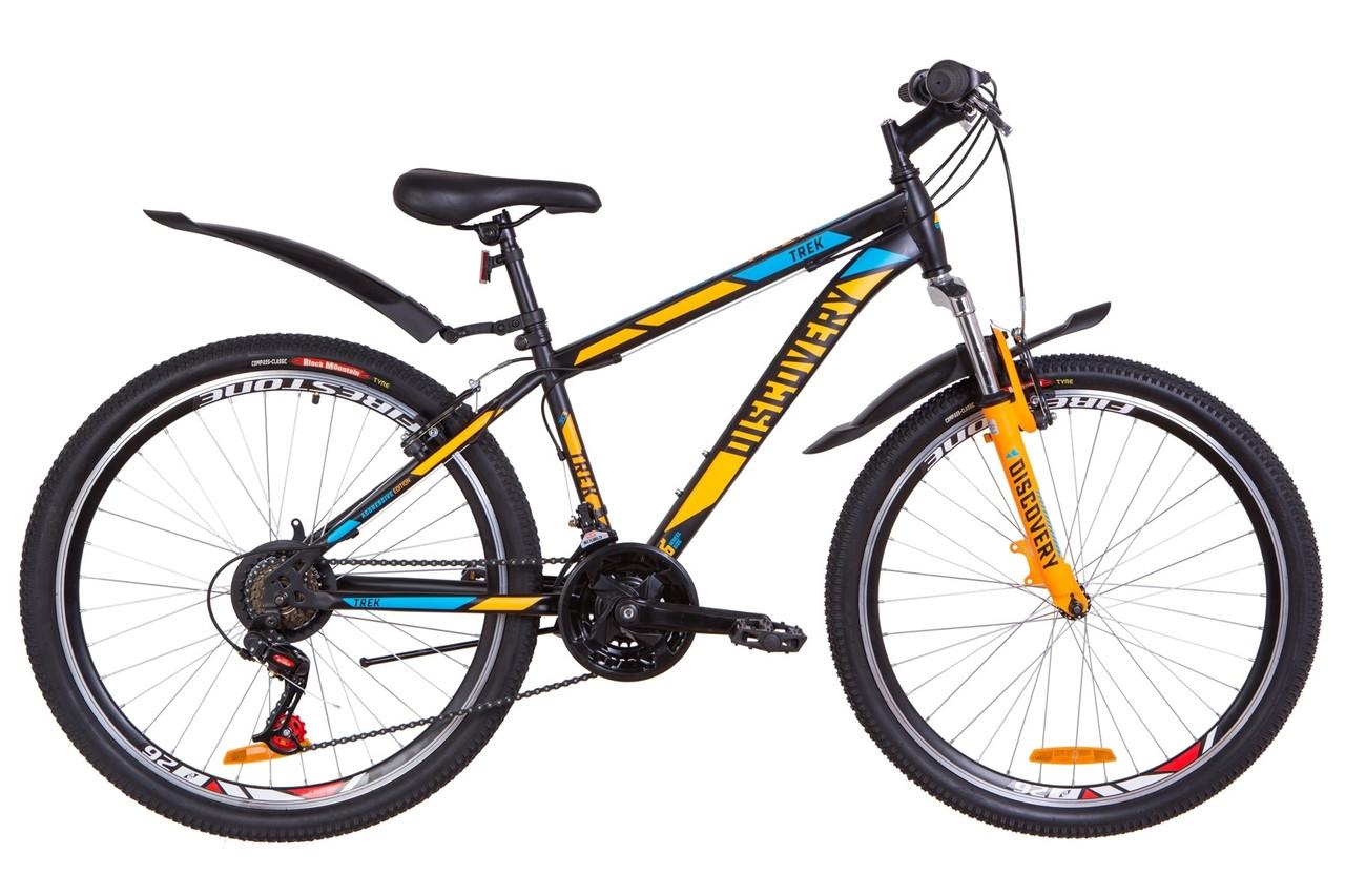 """Велосипед 26"""" Discovery TREK AM 14G Vbr St с крылом Pl 2019 (черно-оранжевый с синим (м))"""
