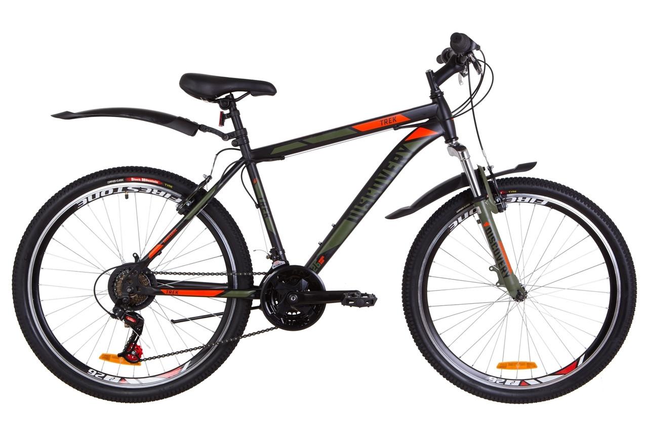 """Велосипед 26"""" Discovery TREK AM 14G Vbr St з крилом Pl 2019 (чорно-помаранчевий хакі (м))"""