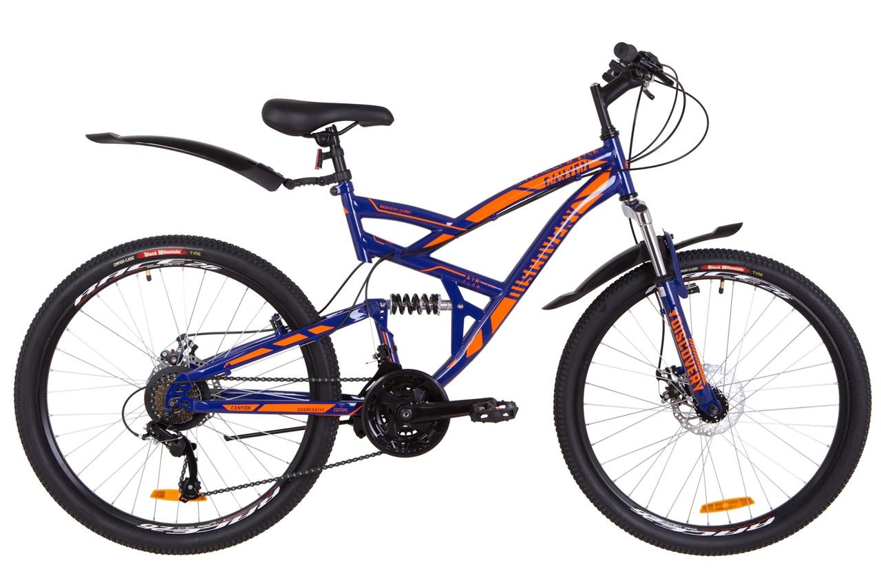 """Велосипед 26"""" Discovery CANYON AM2 14G DD St с крылом Pl 2019 (сине-оранжевый (м))"""