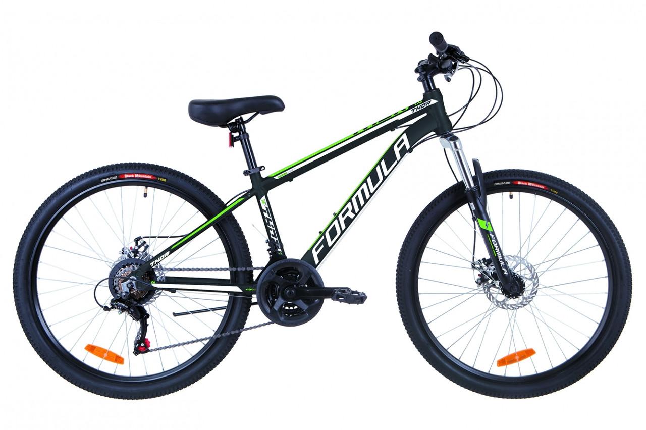"""Велосипед 26"""" Formula THOR 1.0 AM 14G DD Al 2019 (черно-зеленый (м))"""