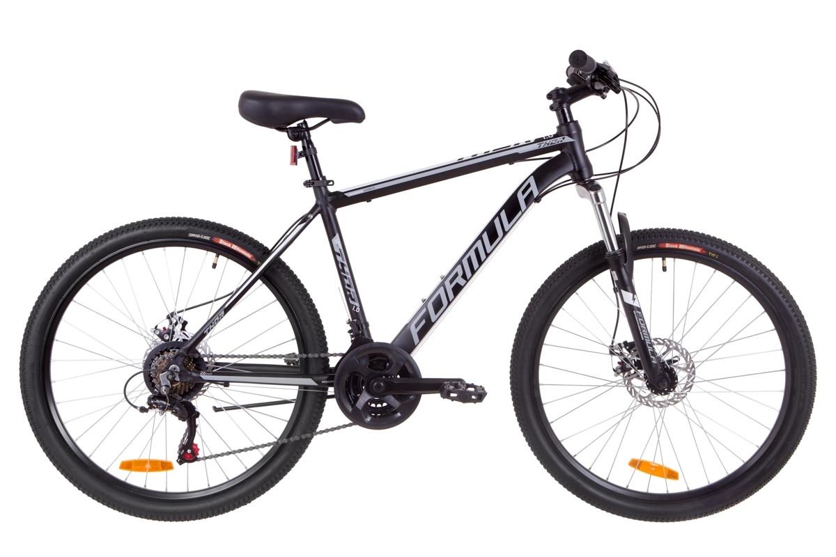 """Велосипед 26"""" Formula THOR 1.0 AM 14G DD Al 2019 (черно-серый с белым (м))"""