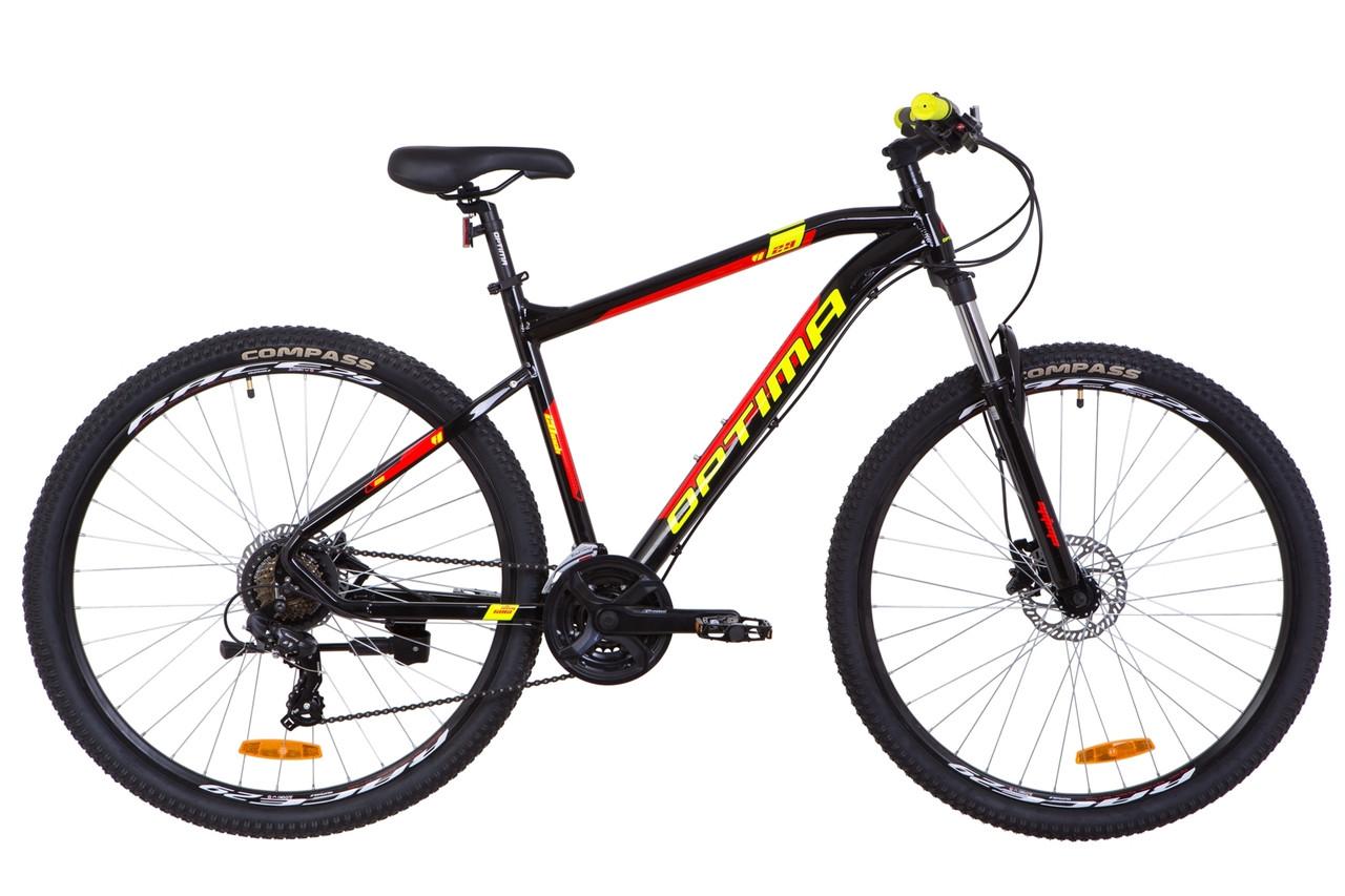 """Велосипед 29"""" Optimabikes F-1 AM 14G HDD Al 2019 (черно-красный с желтым)"""