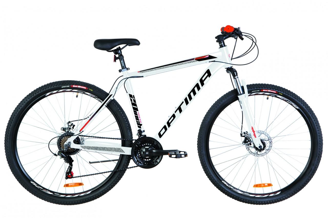 """Велосипед 29"""" Optimabikes MOTION AM 14G DD Al 2019 (біло-червоно-чорний)"""