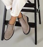 Loro Piana! Женские лоферы туфли полу ботинки натуральная бежевая замша Лора Пиана, фото 4