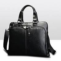 Кслассический мужской деловой портфель черный