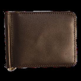 Зажим для денег v.2.0. Fisher Gifts STANDART коричневый (кожа)