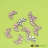 """Декор  дерев. """"Бантики"""" (d=4,5-3,5 см) 10 шт, біло-рожеві"""