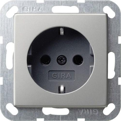 Розетка с заземлением GIRA System 55 нержавеющая сталь