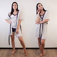 Комплект тройка женский: майка, шорты и халат Miss Victoria Турция S-M, L-XL   1 шт.