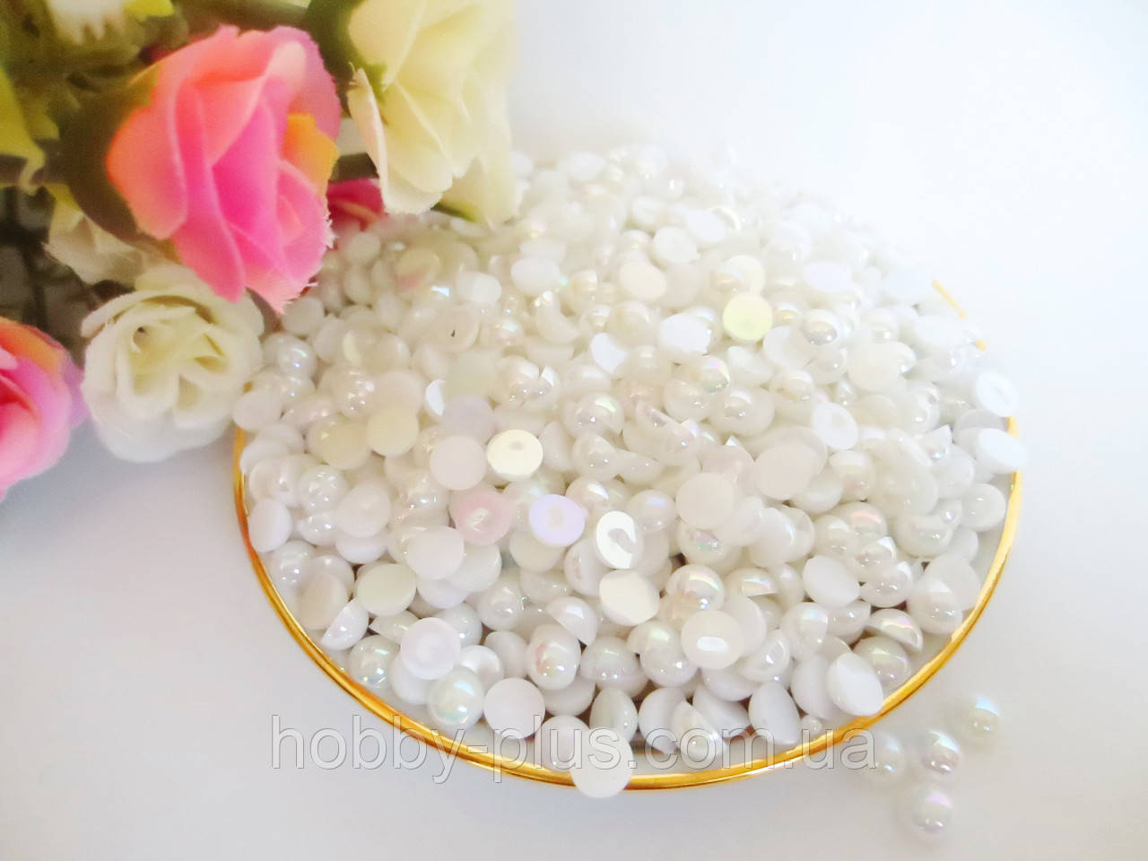 Полубусины перламутровые, 4 мм, цвет белый, 10 грамм, (~690 шт).