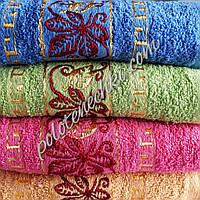 Махровое лицевое полотенце Цветок с золотым узором