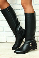 Зимние женские сапоги черные кожаные с пряжкой без каблука