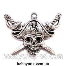 "Метал. подвеска ""пират"" серебро (4,7х3,5 см) 2 шт в уп."