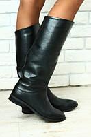 Демисезонные сапоги женские кожаные черные без каблука без замка на низком ходу