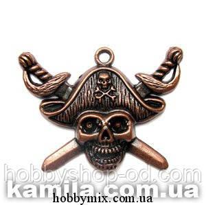 """Метал. подвеска """"пират"""" медь (4,7х3,5 см) 2 шт в уп."""