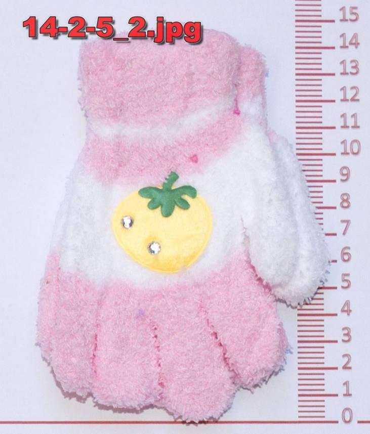 Перчатки детские махровые для девочек - разные цвета - 14-2-5, фото 2